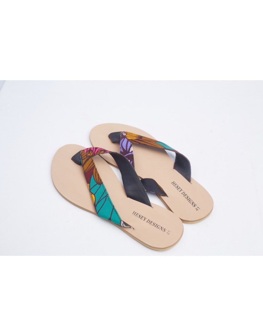 T Strap Ankara Slippers - Colorful Petal Print