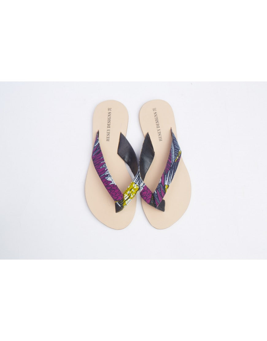 T Strap Ankara Slippers - Dark Purple