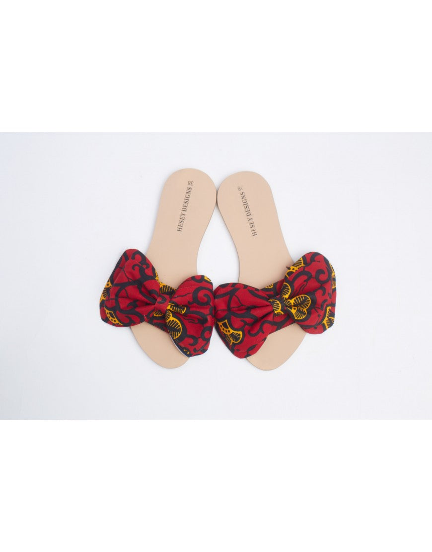 Bow Ankara Slippers - Red and Black