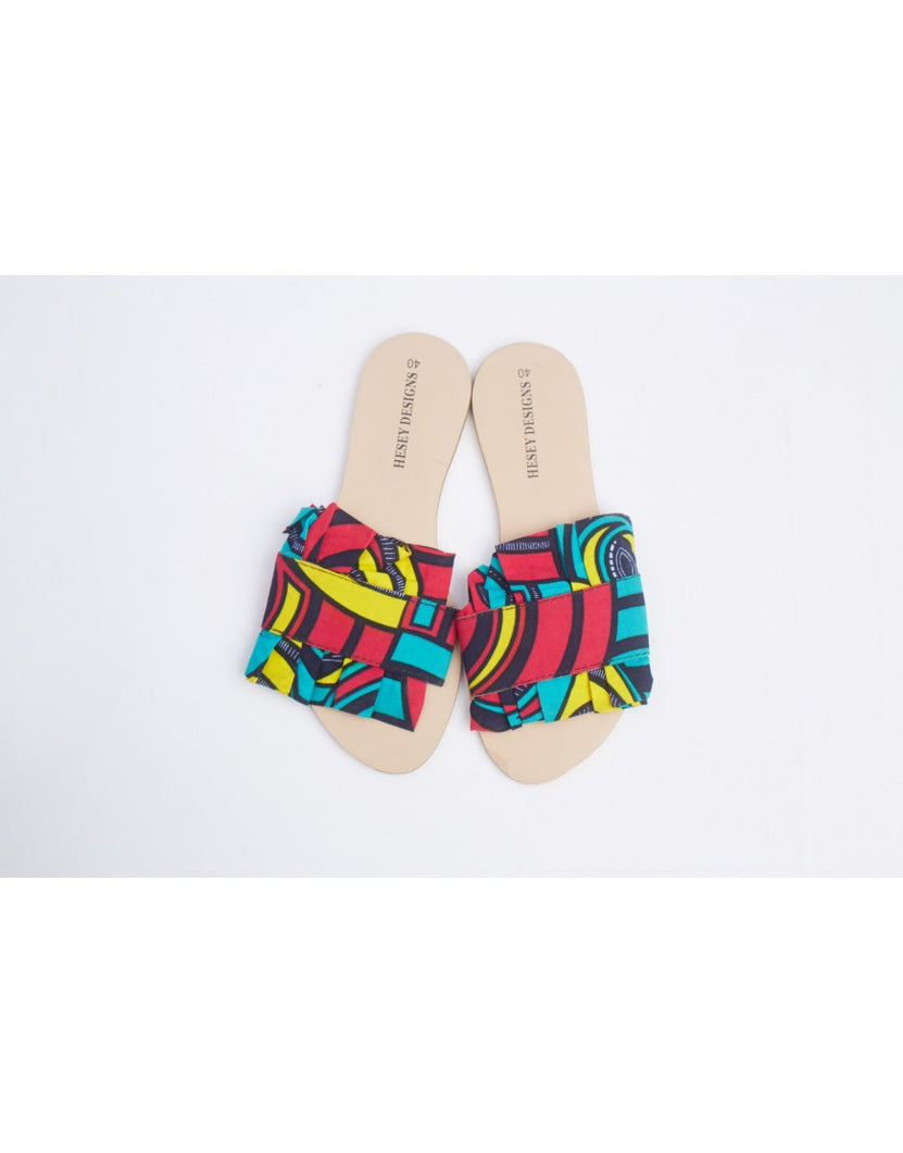 PLEATS ANKARA SLIPPERS -MULTICOLORED