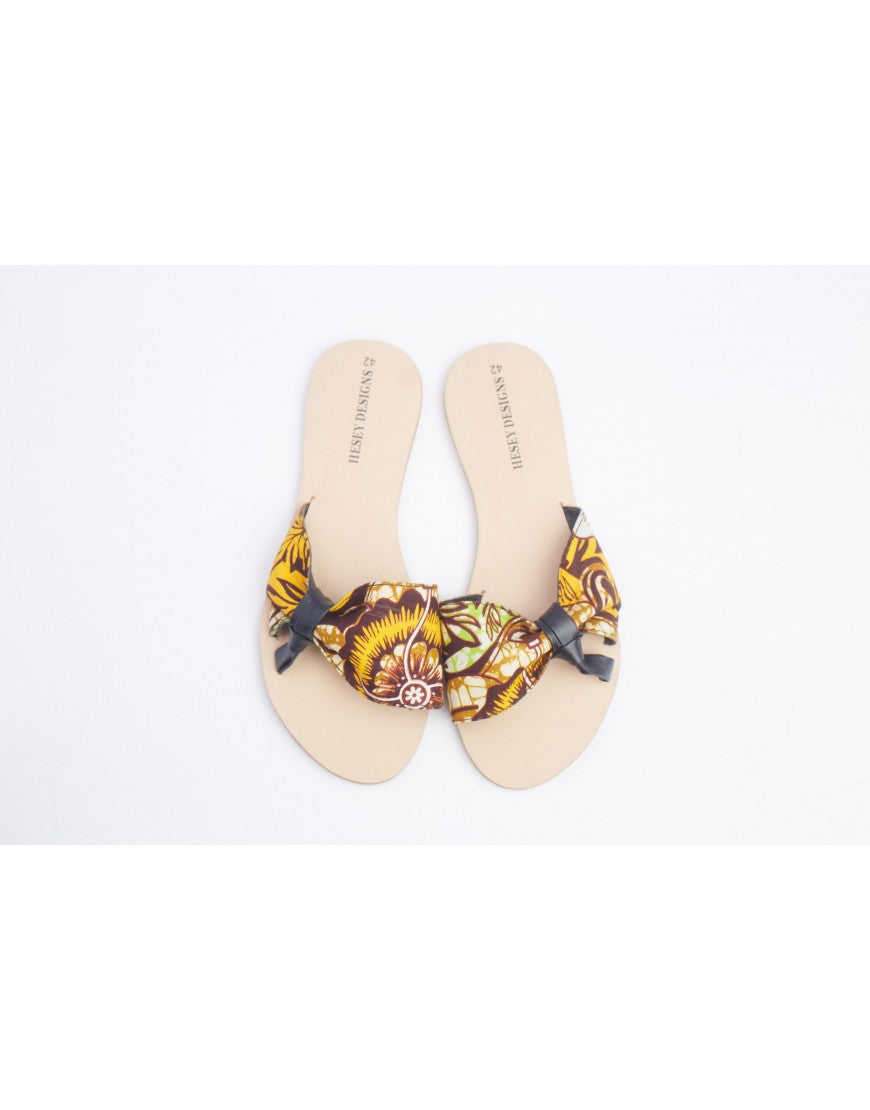 Side Knot Ankara Slippers - Yellow/Brown