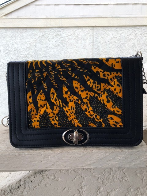Ankara and Leather - Black/Yellow