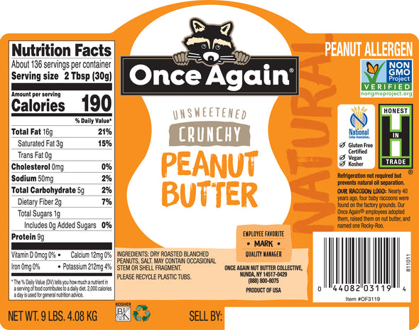 Once Again Natural Peanut Butter Crunchy Lightly Salted 9 lb
