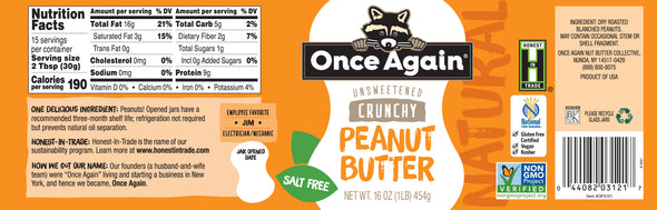 Once Again Natural Crunchy Peanut Butter No Salt 16 oz
