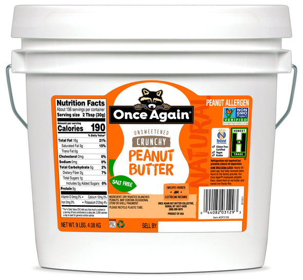 Once Again Natural Peanut Butter Crunchy No Salt 9 lb