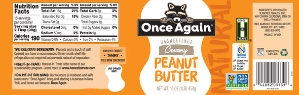 Once Again Natural Peanut Butter Creamy Lightly Salted 16 oz