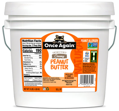 Natural Creamy Peanut Butter - Lightly Salted, Unsweetened - 9 lbs