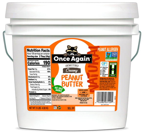 Once Again Natural Peanut Butter Creamy No Salt 9 lb