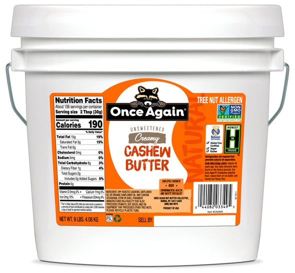 CLEARANCE Once Again Natural Cashew Butter 9 lb