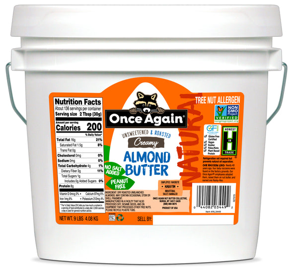 Once Again Natural Creamy Almond Butter 9 lb