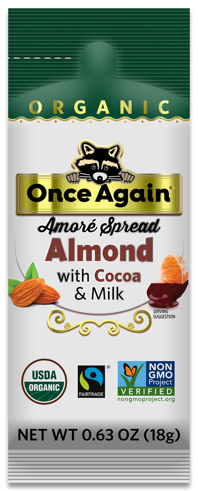 CLEARANCE Once Again Amoré Organic Almond Spread with Milk Chocolate Squeeze Pack 10 ct