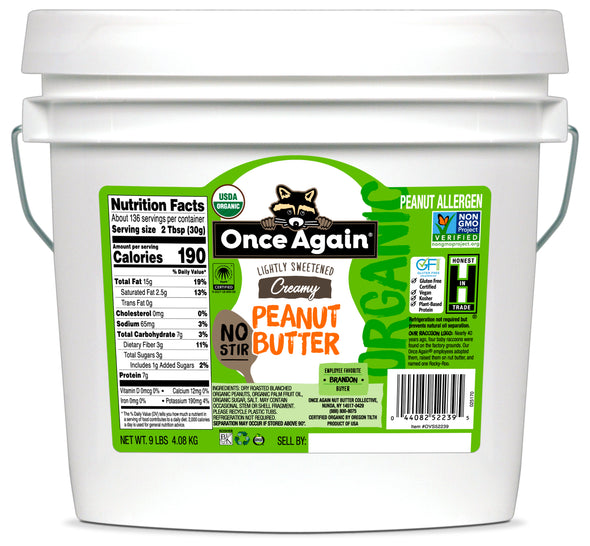 Once Again Organic American Classic Creamy Peanut Butter - No Stir, Lightly Sweetened 9 lb