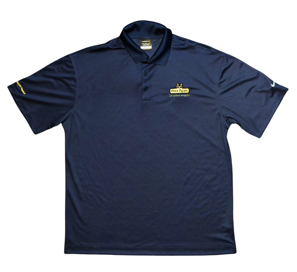 Once Again Men's Collared Nike Golf T-Shirt - Navy Blue