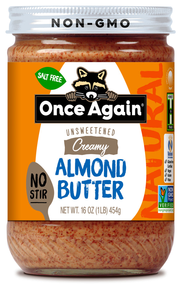 Natural Creamy Almond Butter - American Classic, No Stir - Salt Free, Unsweetened - 16 oz
