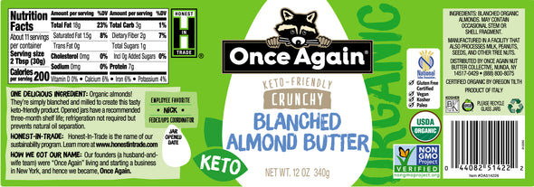 Organic Crunchy Blanched Almond Butter - Salt Free, Unsweetened - 12 oz