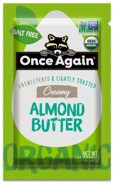 Organic Creamy Almond Butter, Lightly Toasted - Salt Free, Unsweetened - 1.15 oz Squeeze Packs, 10 Count