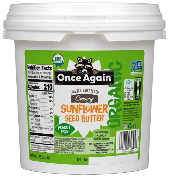 Organic Sunflower Butter - Lightly Salted & Sweetened - Peanut Free - 5 lbs