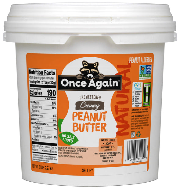 Natural Creamy Peanut Butter - Salt Free, Unsweetened - 5 lbs