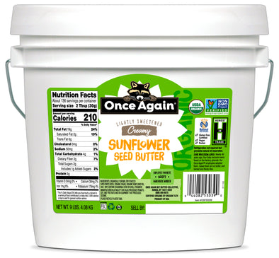 Organic Sunflower Butter - Lightly Salted & Sweetened - Peanut Free - 9 lbs