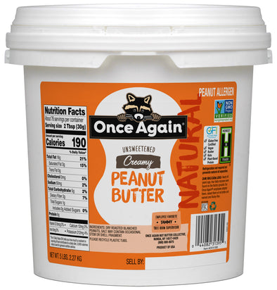 Natural Creamy Peanut Butter - Lightly Salted, Unsweetened - 5 lbs