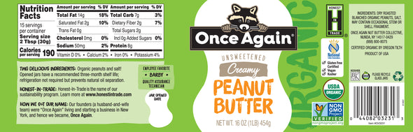 Organic Creamy Peanut Butter - Lightly Salted, Unsweetened - 16 oz