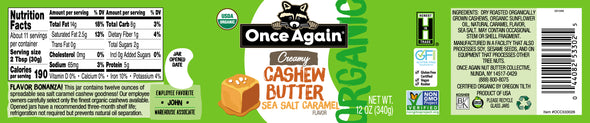 Organic Creamy Cashew Butter with Sea Salt Caramel - 12 oz