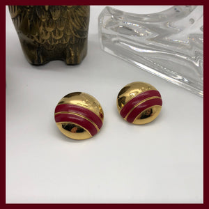 Vintage red and gold circle studs