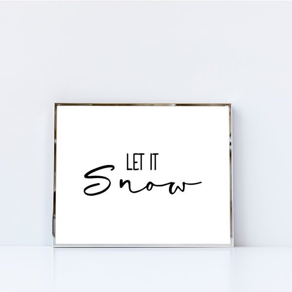 Let It Snow Minimalist Holiday Christmas Wall Art Printable Digital Download