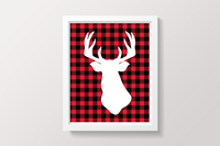 Buffalo Plaid Deer Winter Themed Printable Wall Art