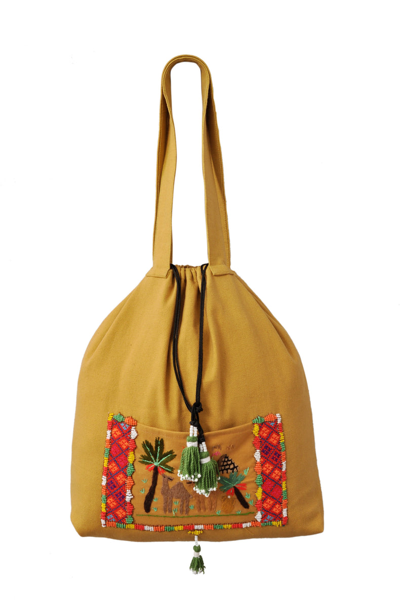 Beaded Pocket Fabric Tote