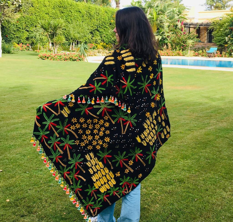Fully Embroidered Palm Shawl