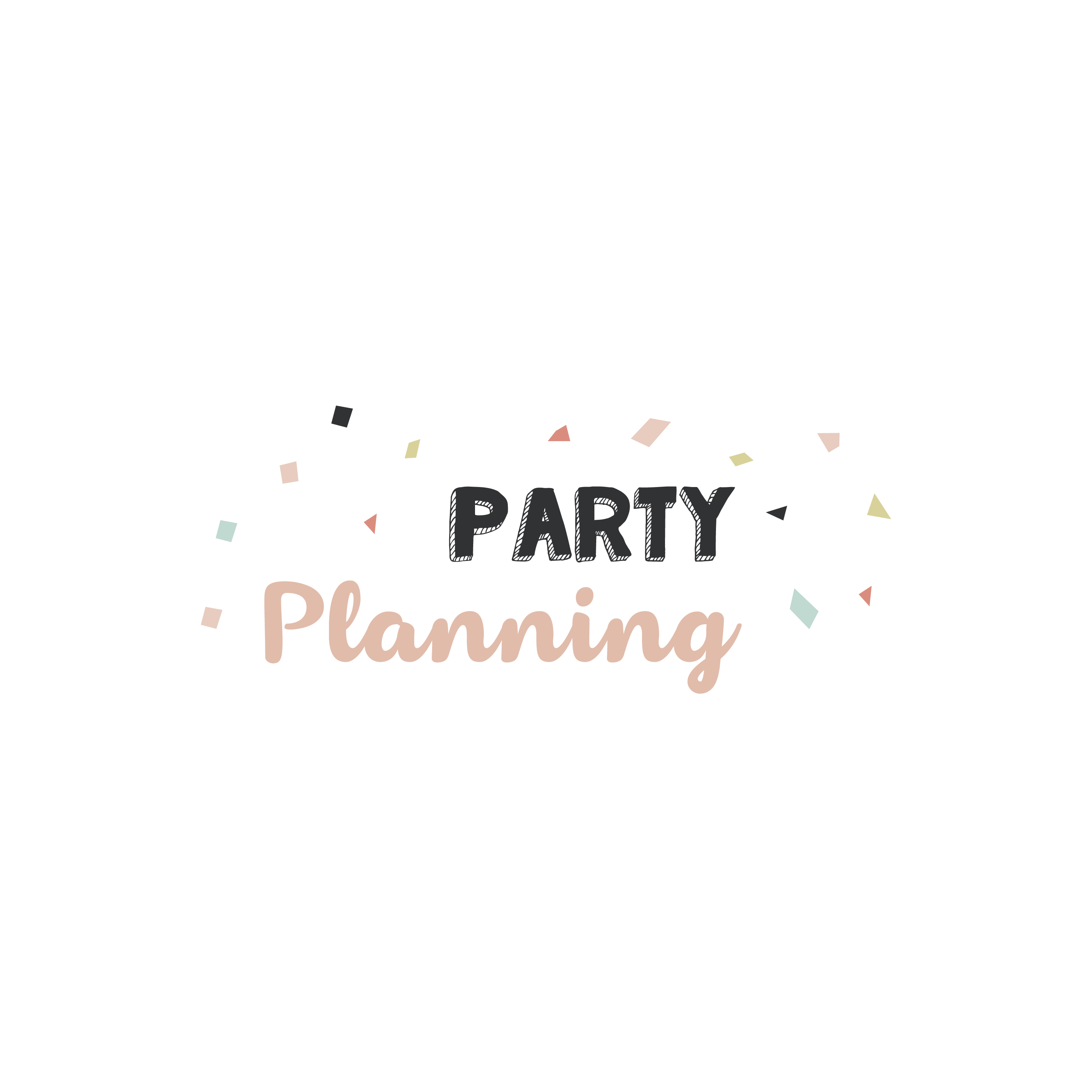 English version of the logo of the document to print Party planning made by Les Belles Combines