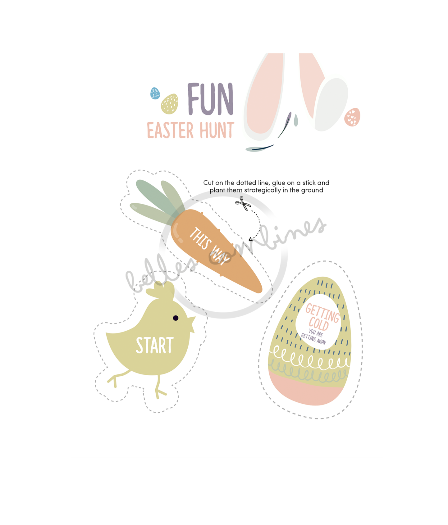 English version of the fun easter hunt document made by Les Belles Combines