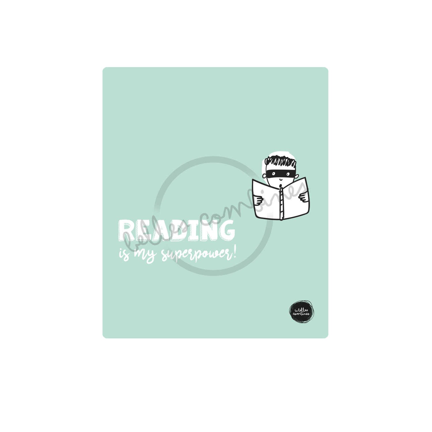 English version of the cover of Reading is my superpower book made by Les Belles Combines