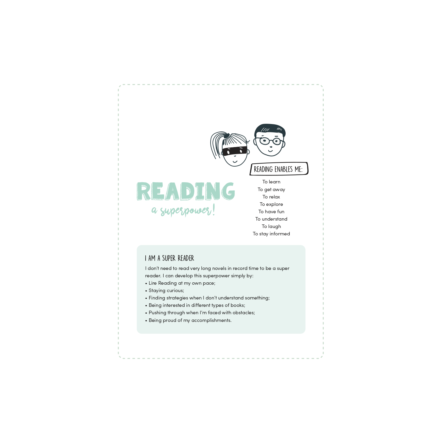 English version of the Reading a superpower document made by Les Belles Combines