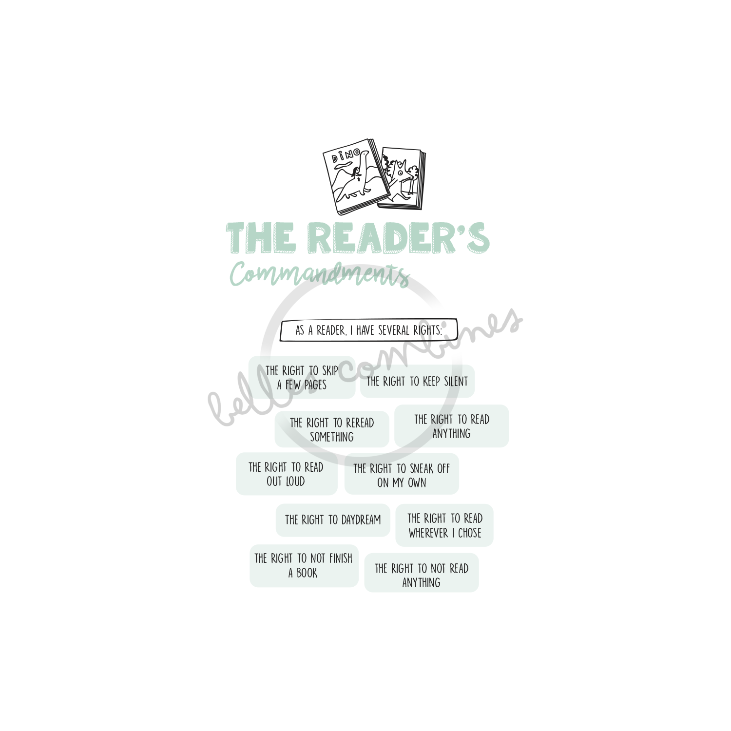 English version of the reader's commandments document made by Les Belles Combines