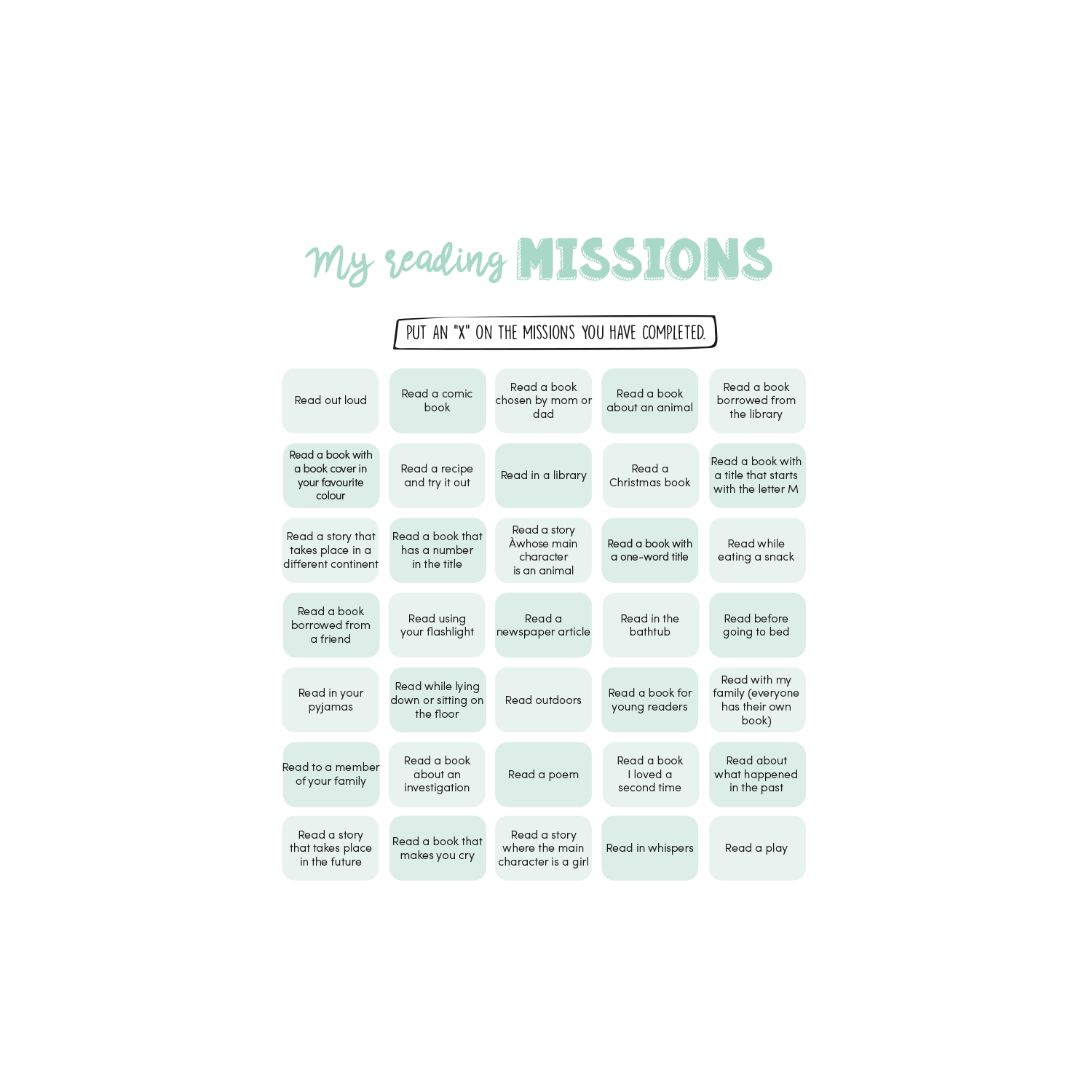 English version of My reading missions document made by Les Belles Combines