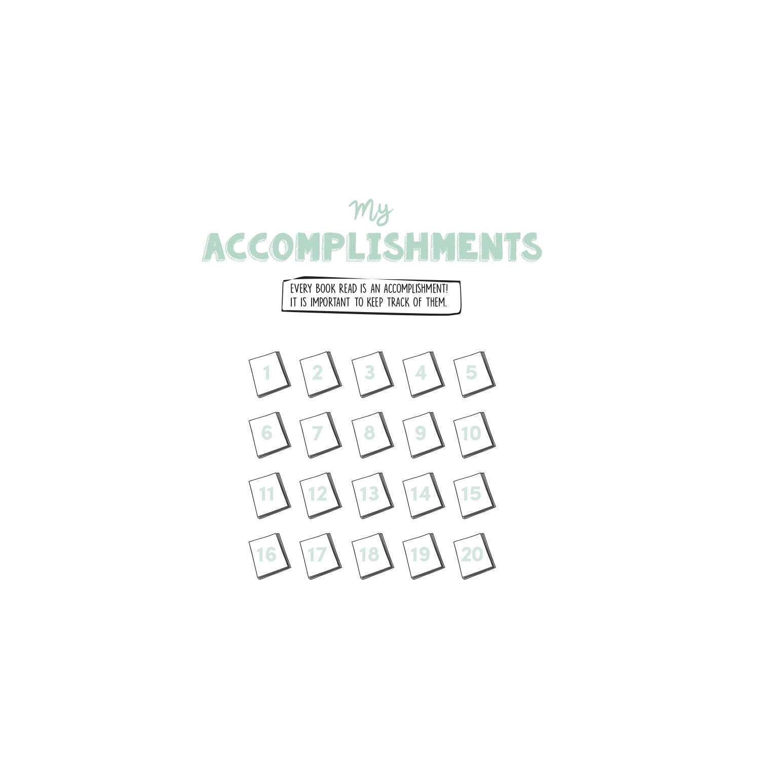 English version of the My accomplishments in reading document made by Les Belles Combines