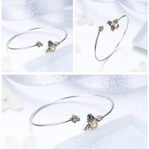 Sterling Silver CZ Bumblebee And Honeycomb Bangle-women's bracelets-Gift Ideas Store