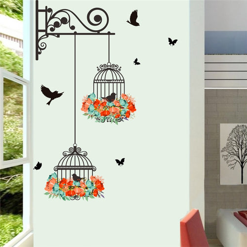 Cute Colorful Birdcage And Flowers Wall Decal-Home and Kitchen-Gift Ideas Store