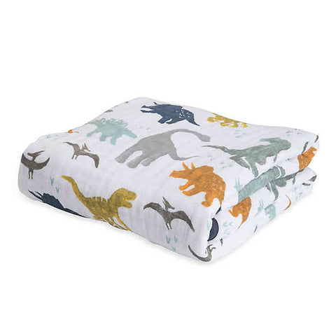 Little Unicorn Muslin Quilt Swaddle 120x120cm | Dino Friends