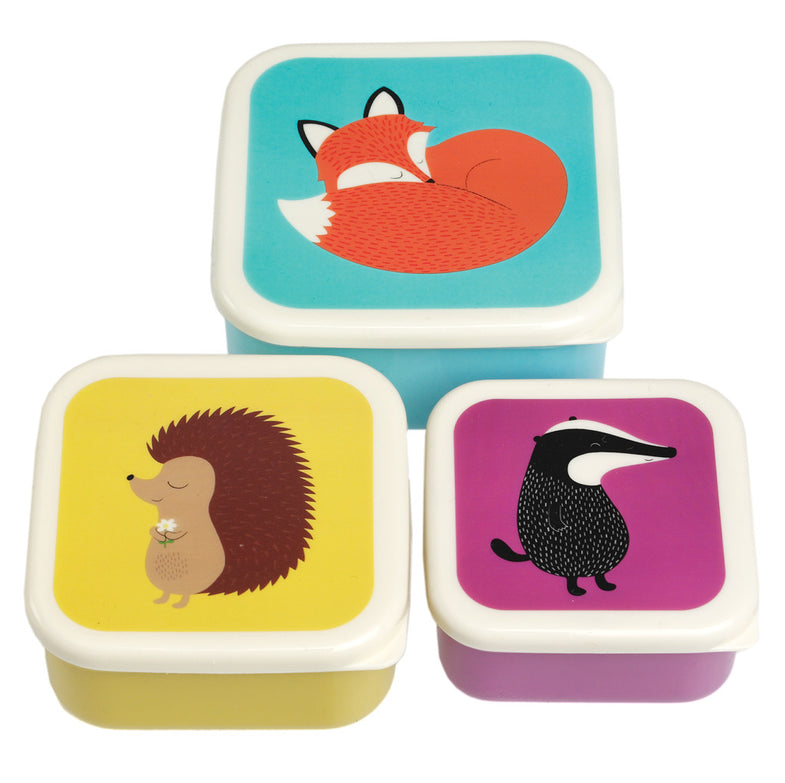 Set 3 snack boxen Fox and friends - DE GELE FLAMINGO - Kids concept store