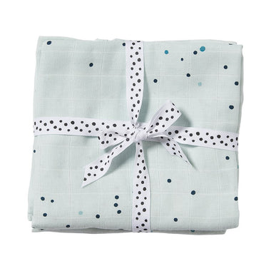 Done By Deer set 2 burp cloths 70 x 70cm | Dreamy Dots Blue