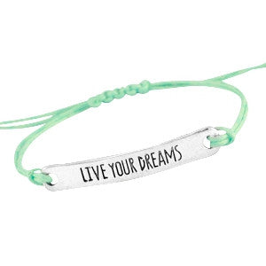 Quote armbandje Live your dreams - DE GELE FLAMINGO