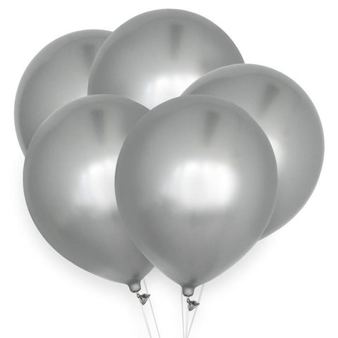 House Of Gia Set 10 Chrome Ballonnen - Silver