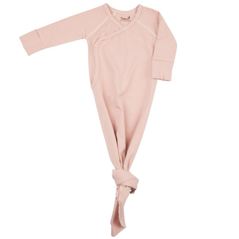 Timboo Knotted Baby Gown 0-3M | Misty Rose