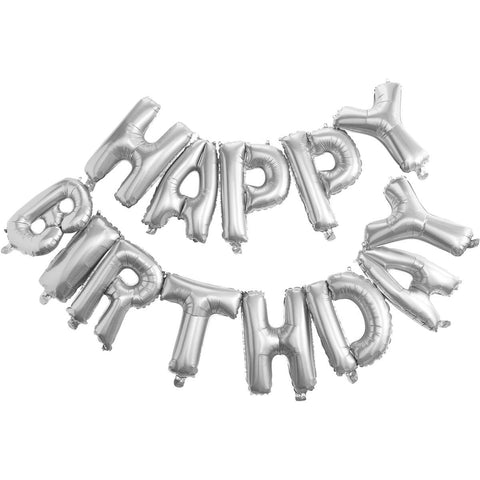 Happy Birthday Xl folie ballon zilver - DE GELE FLAMINGO - Kids concept store