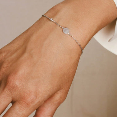 Galore Gepersonaliseerde Armband Circle & Diamond | Zilver Women