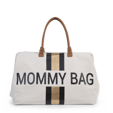 Childwood weekendtas XL Mommy Bag off white stripes black/gold