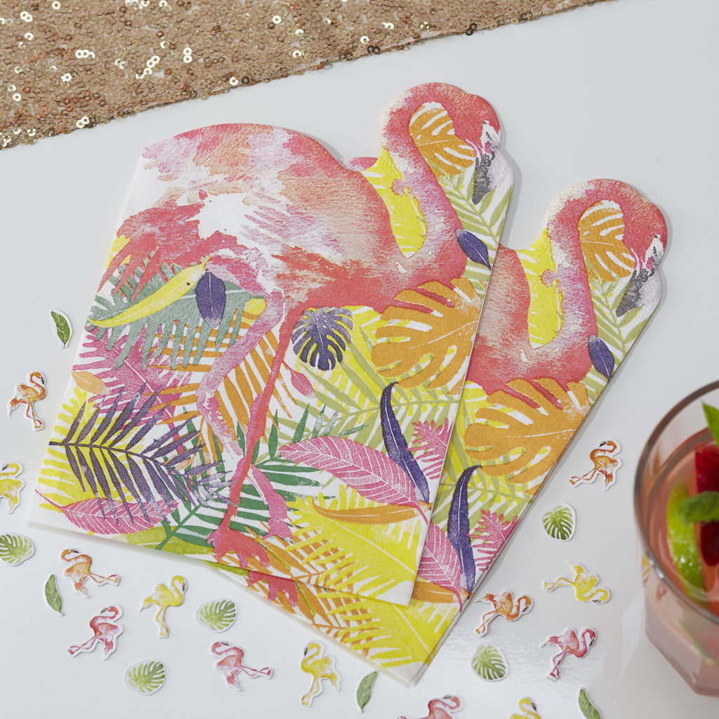 Set 20 papieren servetten Tropical Flamingo - DE GELE FLAMINGO - Kids concept store